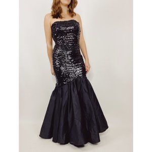VINTAGE Black Sequin Trumpet Mermaid Gown